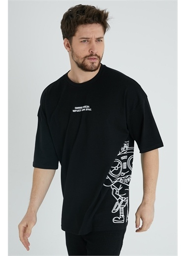 XHAN Taş Rengi Robot Kafa Baskılı Oversize T-Shirt 1Kxe1-44639-56 Siyah